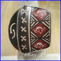 Vintage Sterling Silver Mata Ortiz Pottery Shard Ring Adjustable