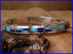 Vintage Sterling Silver Multi Stone Inlay Link Bracelet