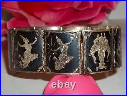 Vintage Sterling Silver Niello Siam Panel Link Bracelet Figural 7 33.4g 925