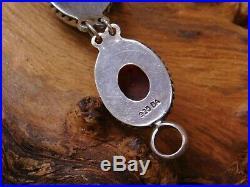 Vintage Sterling Silver Onyx & Amber Link Bracelet