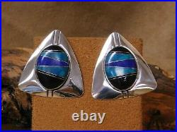 Vintage Sterling Silver Triangle Block Multi Stone Inlay Post Earrings