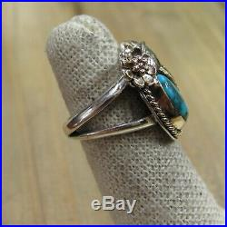 Vintage Sterling Silver Turquoise & 14KT Gold Ring Size 4.25