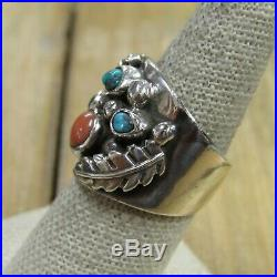 Vintage Sterling Silver Turquoise & Coral Band Ring Size 8