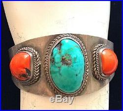 Vintage Sterling Silver Turquoise Coral Bracelet