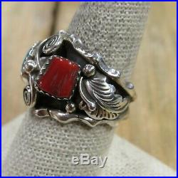Vintage Sterling Silver Turquoise & Coral Ring Size 9