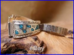 Vintage Sterling Silver Turquoise & Mother of Pearl Fish Scale Chip Inlay Watch
