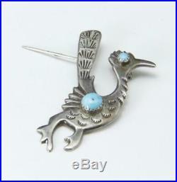 Vintage Sterling Silver Turquoise Roadrunner Pin Brooch Stamped