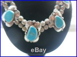 Vintage Sterling Silver Turquoise Squash Blossom Necklace 98 Gram