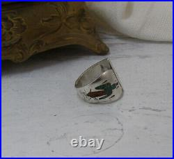 Vintage Sterling Tommy Singer Chip Inlay Ring Tipi Teepee Peyote Bird Navajo