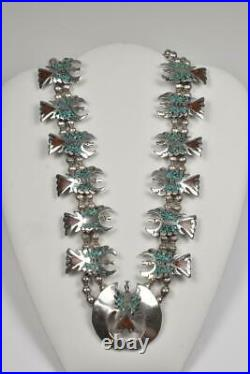 Vintage Sterling Turquoise & Coral Squash Blossom Necklace 173.5 Grams