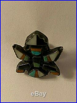 Vintage Stirling Hopi Indian Turquoise&Other Stones Inlaid Knifewing Pin Symbol
