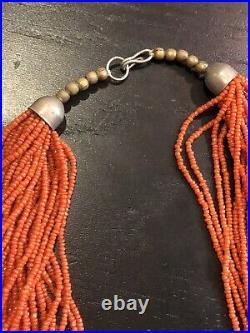 Vintage Tibetan / African 30 strand 160gm red coral 32.5 necklace JL 010621@