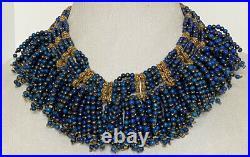 Vintage Tribal Ethnic Lapis Hematite Dangle Bead Gold Metal Bib Necklace Stunner