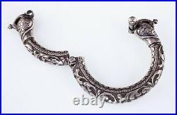 Vintage Tribal Inde Chitai Paon Argent Manchette Bracelet, Main Sculpté