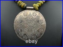 Vintage Tribal Large Stampwork Star Floral Disc Sterling Silver Agate Necklace