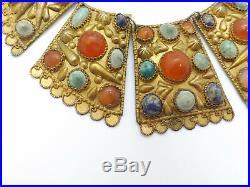 Vintage Tribal Silver & Goldwash Multi-Gemstone Large Bib Choker Necklace 101.3g