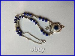 Vintage Tribal Sterling Silver Blue Agate Beaded Bead Turkmen Necklace