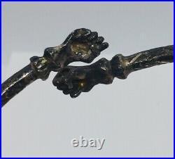Vintage Trinidad Hand Made Sterling Silver Fist Ends Ornate Design Bracelet