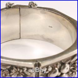 Vintage Turkish Safir Silver Cornucopia Hinged Cuff Bracelet 1211D-46
