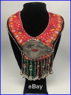 Vintage Turkmen Choker Necklace Pendant on Hand Sawn Soft Fabric Handmade, TN205