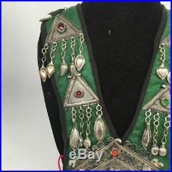 Vintage Turkmen Choker Necklace Pendant on Hand Sawn Soft Fabric Handmade, TN226