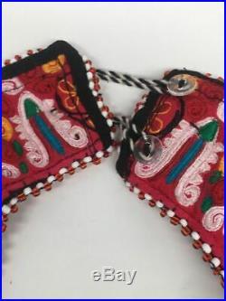 Vintage Turkmen Choker Necklace Pendant on Hand Sawn Soft Fabric Handmade, TN234