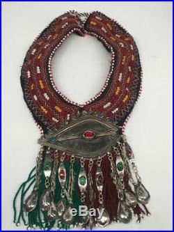 Vintage Turkmen Choker Necklace Pendant on Hand Sawn Soft Fabric Handmade, TN235