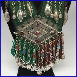 Vintage Turkmen Necklace Multi Pendant on Hand Sawn Soft Fabric Handmade, TN244