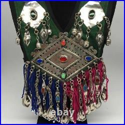 Vintage Turkmen Necklace Multi Pendant on Hand Sawn Soft Fabric Handmade, TN245