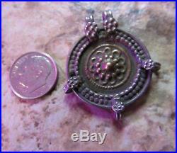 Vintage Turkmen Sterling Silver N Brass 1 1/3 Inch Tribal Pendant, Britz Beads 5