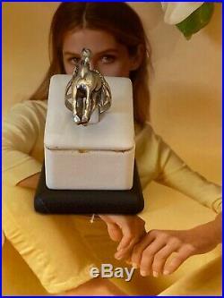 Vintage Unisex Sterling Silver 925 3d Horse Ring Sz 6.75