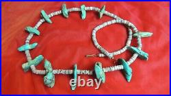 Vintage Vintage one Strand Heishi Bead and Big Turquoise Necklace 29