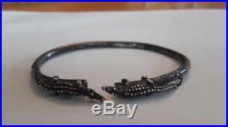 Vintage West Indies Trinidad Sterling Alligator Bangle Bracelet Mans