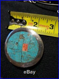 Vintage Zuni Sterling Silver Buckle Turquoise Coral Belt Signed Dca