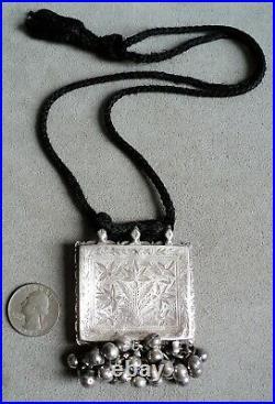 Vtg Antique STERLING Silver NECKLACE Berber AFGHAN Kuchi BELLS Incised FLOWERS