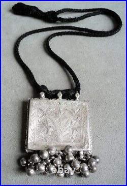 Vtg Antique STERLING Silver NECKLACE Berber Kuchi BELLS Incised FLOWERS -AFGHAN