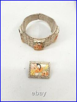 Vtg Carved Bovine Bone Japanese Asian Bracelet & Brooch Pin 1 Japan Stock #F111