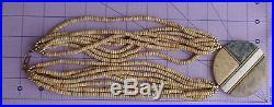 Vtg Hand Made Hard Wood Chunky Massive Ethnic Tribal Gem Stone Pendant Necklace