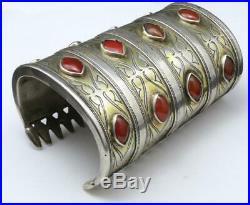 Vtg Huge Tribal Turkmen Turkoman Carnelian Silver Cuff Bracelet Armband Tekke