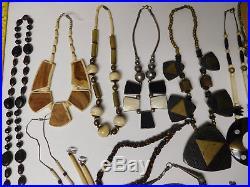 Vtg Lot Boho Bohemian Chunky Necklace Bracelet Ring Pendant Jewelry Wood Stone