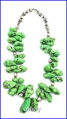 Vtg Massive 372g Chunky GASPEITE & Sterling Silver Tribal Necklace Man or Woman