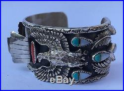 Vtg Michael Perry MP Navajo EAGLE Sterling Coral Turquoise Cuff Watch Bracelet