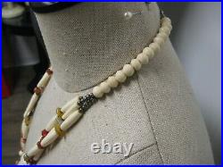 Vtg Multi strand Tribal Necklace Jungle animal safari necklace boho necklace