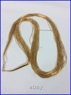 Vtg Native American Navajo Sterling Silver 925 Liquid Silver 30 Strands Necklace