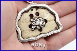 Vtg Ornate 925 Sterling Silver/Bone/Turquoise/Coral 2 Pendant Tibetan Tribal