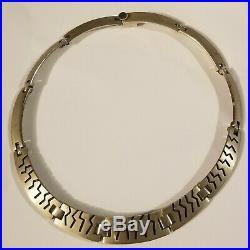 Vtg Tribal Geometric Design Choker Collar Necklace Modernist 925 Sterling Silver
