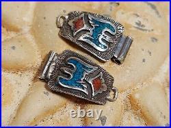 Vtg. Zuni Petit Pointe Belt Buckle, Thunderbird Sterling Watch
