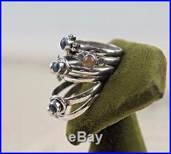 Vtg collection lapis + sterling stacking ring stackable ethnic silver gypsy boho