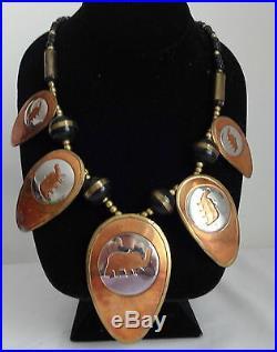 Vtge Mixed Metals Art Silver Copper Brass Elephant Medallion Bib Chunky Necklace