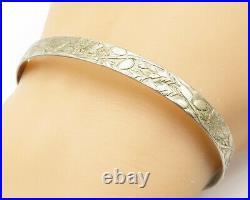 WCF ENGLAND 925 Silver Vintage Floral Vine Patterned Cuff Bracelet B5195